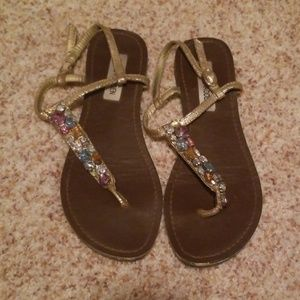 Multi-color rhinestone sandals